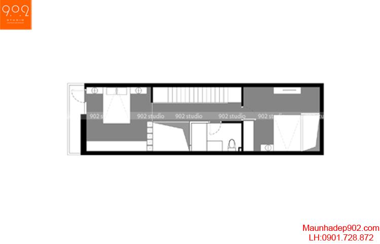 Thiết kế nhà phố - Mặt bằng tầng 3 - NP07