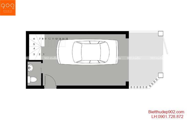 Thiết kế nhà phố - Mặt bằng tầng 1 - NP15