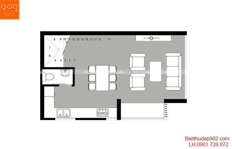 Thiết kế nhà phố - Mặt bằng tầng 2 - NP15