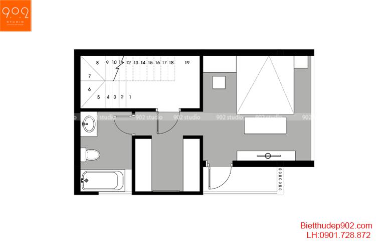 Thiết kế nhà phố - Mặt bằng tầng 3 - NP15