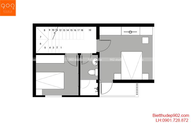 Thiết kế nhà phố - Mặt bằng tầng 4 - NP15