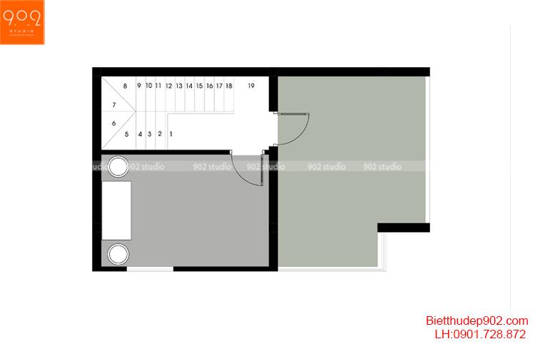 Thiết kế nhà phố - Mặt bằng tầng 5 - NP15