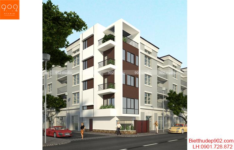 Thiết kế kiến trúc nhà lô - Phối cảnh - NP16