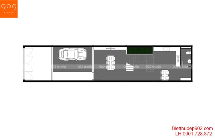 Thiết kế nhà phố - Mặt bằng tầng 1 - NP16