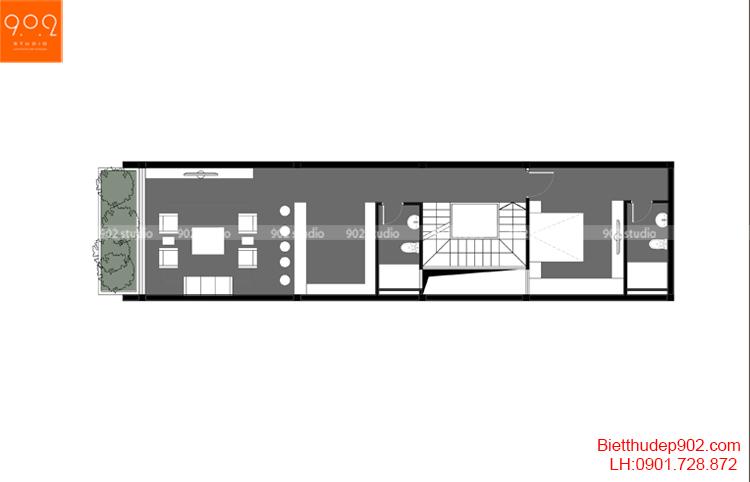 Thiết kế nhà phố - Mặt bằng tầng 2 - NP16