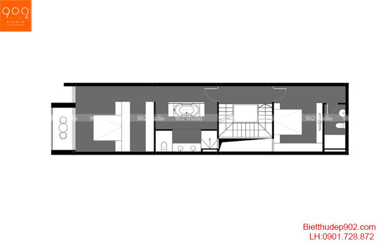 Thiết kế nhà phố - Mặt bằng tầng 3 - NP16
