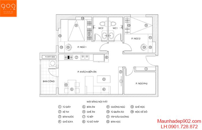 Thiết kế nội thất chung cư - Mặt bằng - NT12