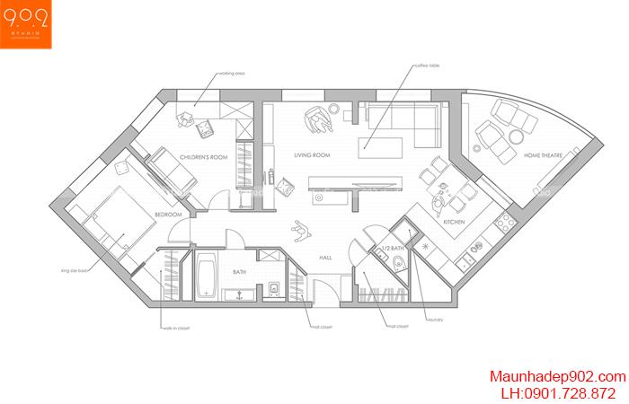 Thiết kế nội thất chung cư - Mặt bằng - NT13
