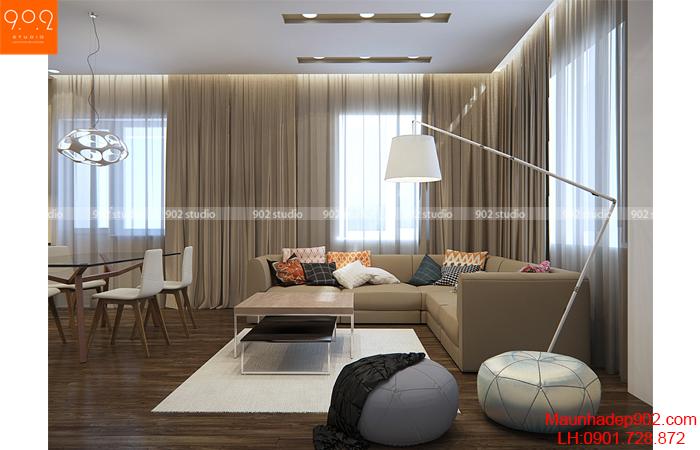 Thiết kế nội thất chung cư - Phòng khách 2 - NT14