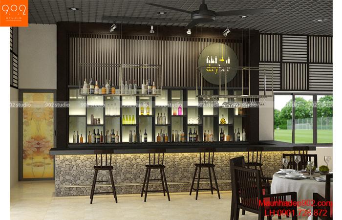 Thiết kế nội thất nhà hàng - Quầy rượu- NH03