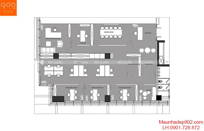 Thiết kế nội thất văn phòng - Mặt bằng- NT18