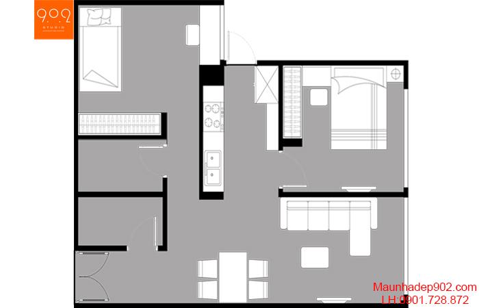 Thiết kế nội thất chung cư - Mặt bằng - NT20