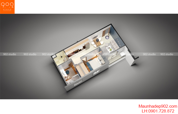 Thiết kế nội thất nhà chung cư - Mặt bằng 1 - NT16