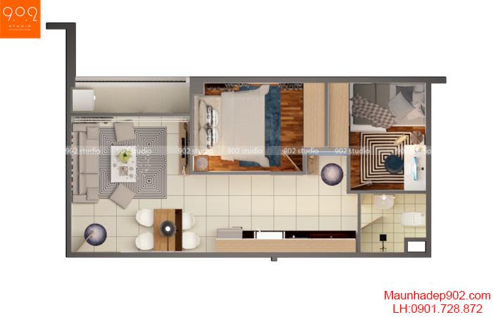 Thiết kế nội thất nhà chung cư - Mặt bằng 2 - NT16