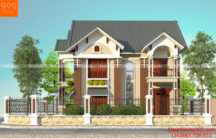 Thiết kế kiến trúc biệt thự 2 tầng -Phối cảnh 2 - BT57