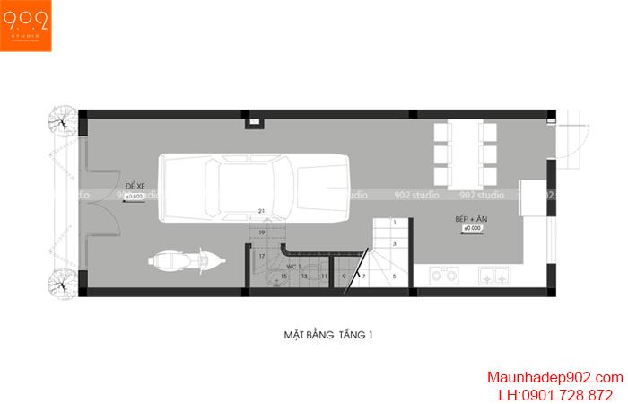 Thiết kế kiến trúc nhà phố - MB tầng 1 - NP20