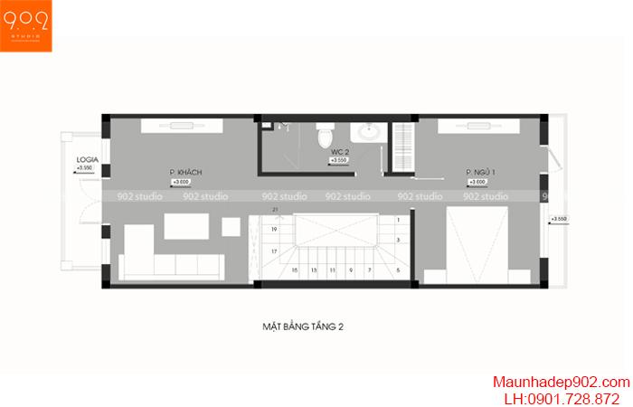 Thiết kế kiến trúc nhà phố - MB tầng 2 - NP20