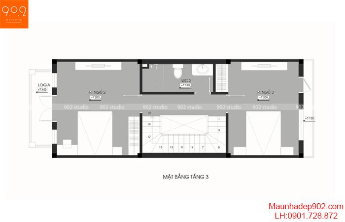 Thiết kế kiến trúc nhà phố - MB tầng 3 - NP20