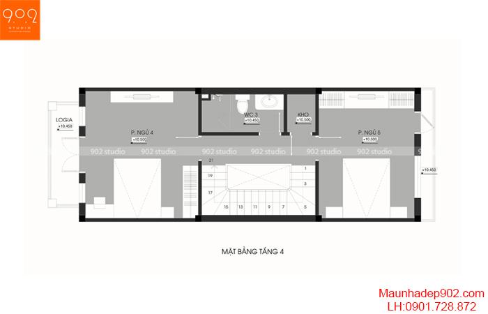 Thiết kế kiến trúc nhà phố - MB tầng 4 - NP20