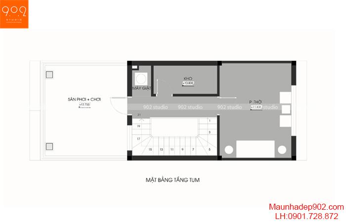 Thiết kế kiến trúc nhà phố - MB tầng 5 - NP20