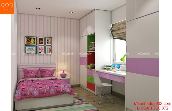 Thiết kế nội thất chung cư - Phòng ngủ con gái - NT22