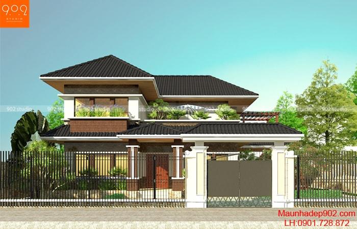 Thiết kế kiến trúc biệt thự 2 tầng -Phối cảnh 3 – BT106