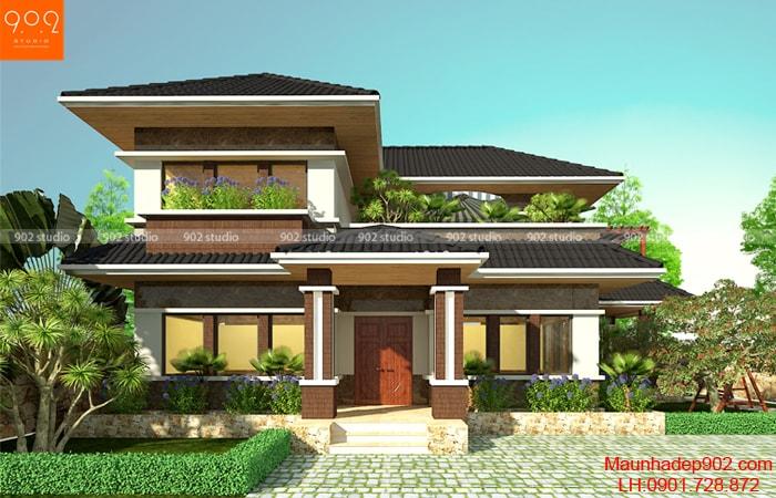 Thiết kế kiến trúc biệt thự 2 tầng -Phối cảnh – BT106 (nguồn: maunhadep902.com)