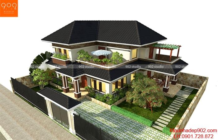 Biệt thự 2 tầng mái thái đẹp kết hợp với kiến trúc sân vườn xanh tươi