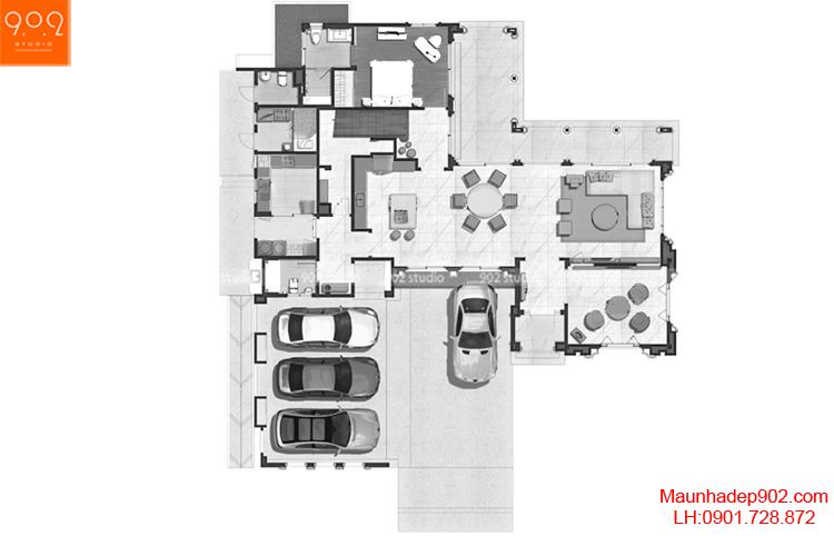 Thiết kế biệt thự - Mặt bằng tầng 1 - BT66