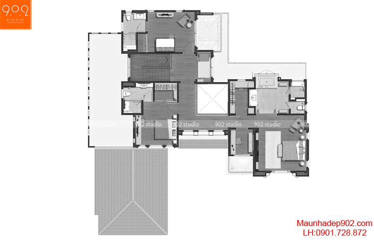 Thiết kế biệt thự - Mặt bằng tầng 2 - BT66