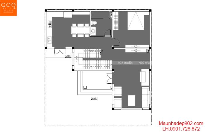 Thiết kế kiến trúc biệt thự 3 tầng - MB tầng 1 - BT127