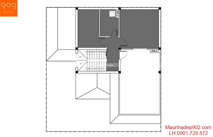 Thiết kế kiến trúc biệt thự 3 tầng - MB tầng 2 - BT127