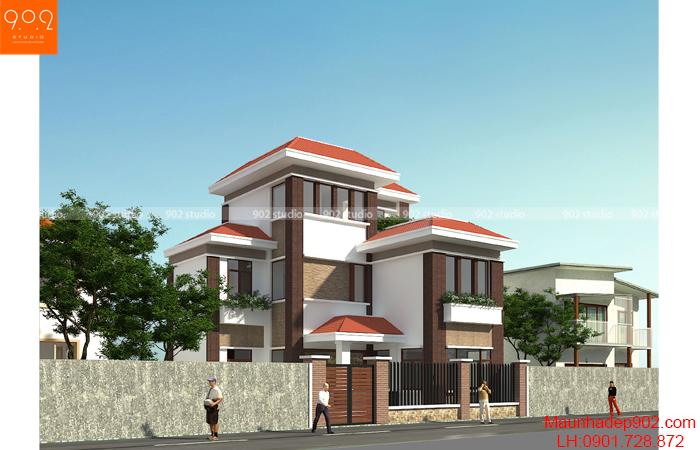 Thiết kế kiến trúc biệt thự 3 tầng - Phối cảnh 1 - BT127