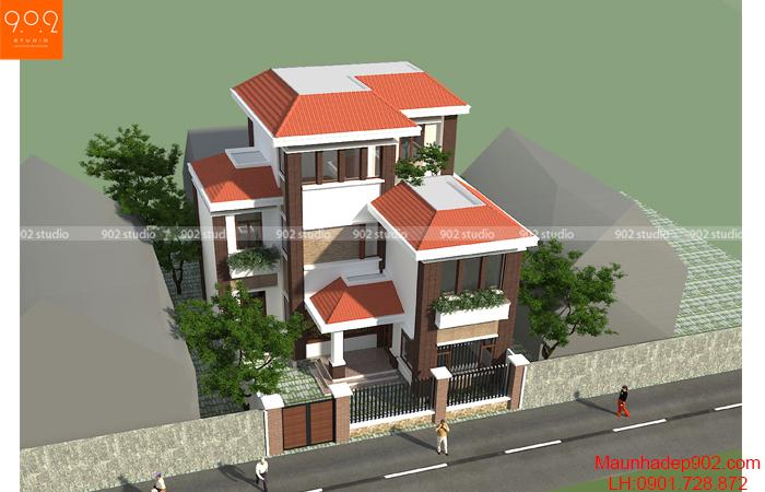 Thiết kế kiến trúc biệt thự 3 tầng - Phối cảnh 2 - BT127