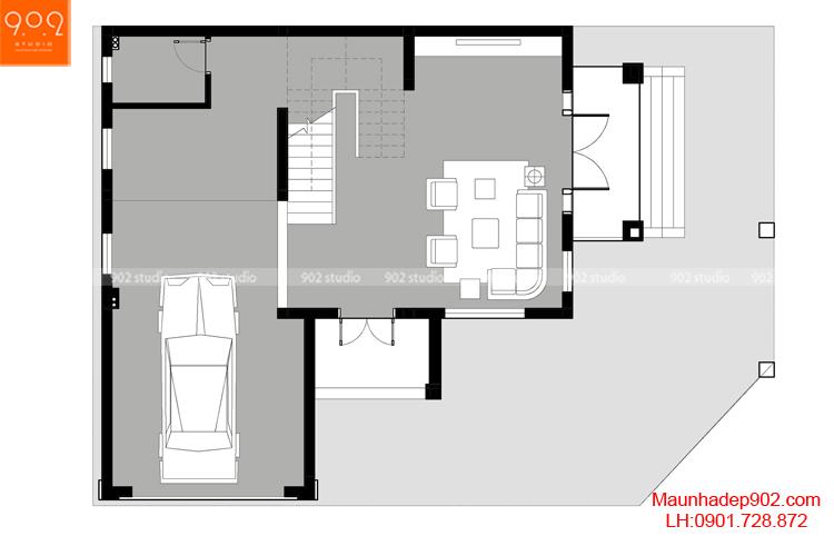 Thiết kế kiến trúc biệt thự 3 tầng - MB tầng 1 - BT104