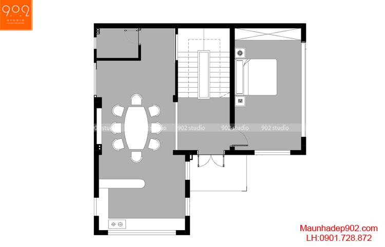 Thiết kế kiến trúc biệt thự 3 tầng - MB tầng 2 - BT104