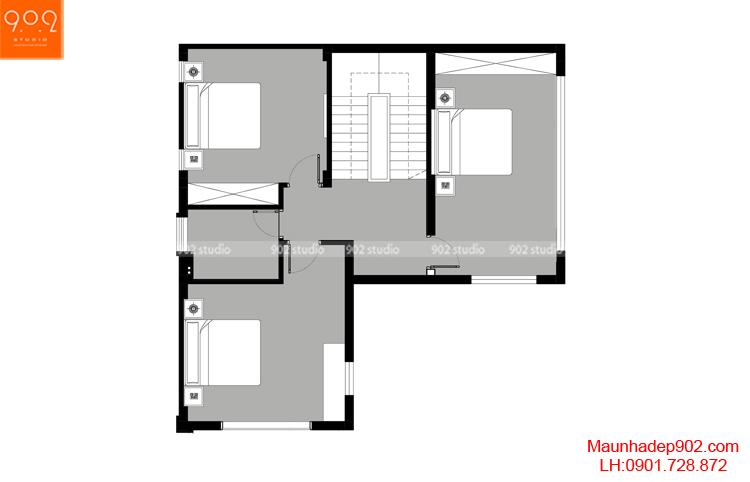 Thiết kế kiến trúc biệt thự 3 tầng - MB tầng 3 - BT104