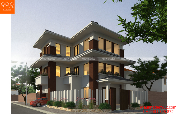 Thiết kế kiến trúc biệt thự 3 tầng - Phối cảnh - BT104