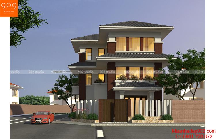 Thiết kế kiến trúc biệt thự 3tầng -Phối cảnh 3 - BT104