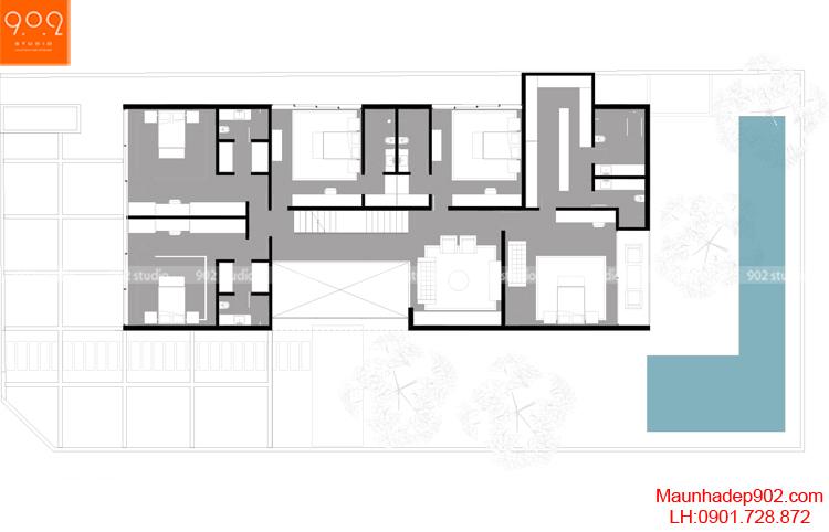 Thiết kế kiến trúc biệt thự 2 tầng -Mặt bằng tầng 2- BT93