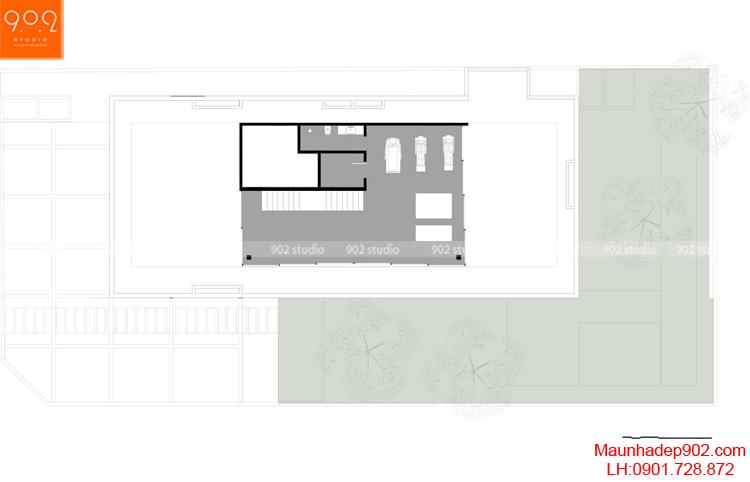 Thiết kế kiến trúc biệt thự 2 tầng -Mặt bằng tầng 3- BT93