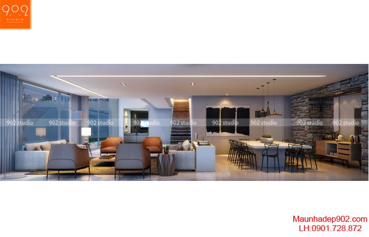 Thiết kế kiến trúc biệt thự 2 tầng -Nội thất - BT93