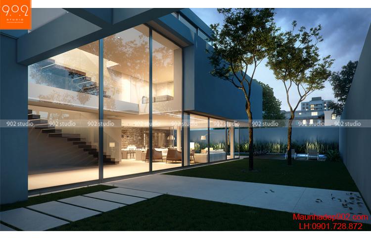 Thiết kế kiến trúc biệt thự 2 tầng - Phối cảnh - BT93