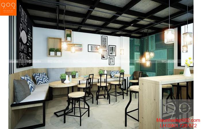 Thiết kế nội thất quán cafe - Phối cảnh 1 - NH04