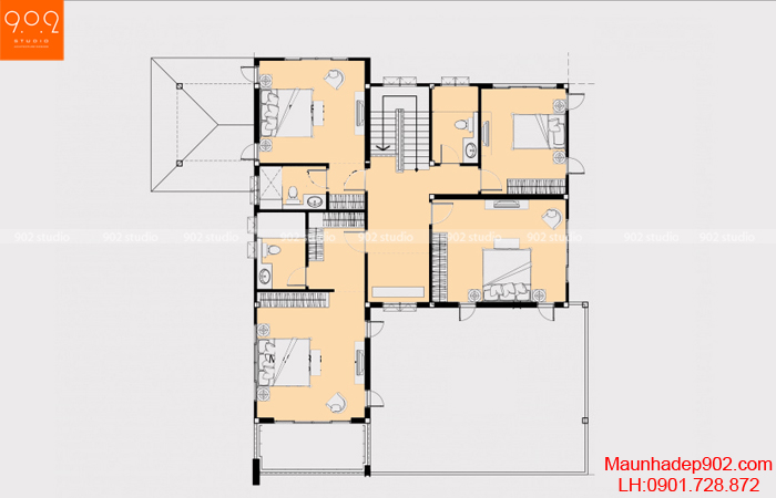 Thiết kế biệt thự 2 tầng - Mặt bằng tầng 2 - BT05