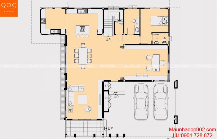 Thiết kế biệt thự 2 tầng - Mặt bằng tầng 1 - BT05