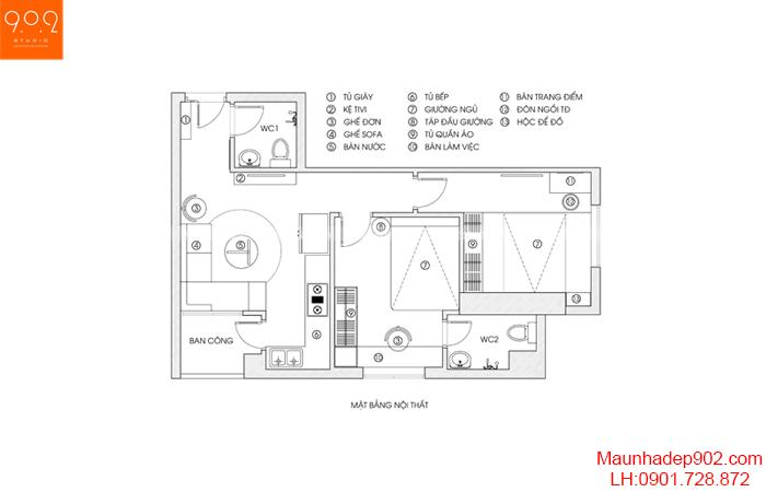 Thiết kế nội thất chung cư - Mặt bằng - NT15