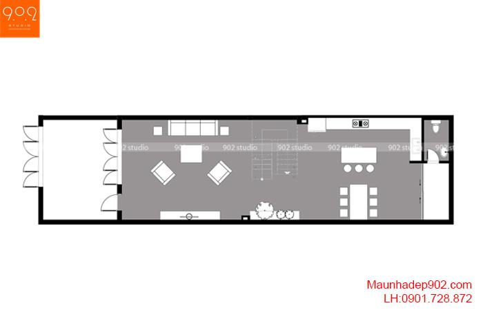 Thiết kế kiến trúc nhà lô phố nhà cô Thủy (Yên Bái) - Mặt bằng tầng 1 - NP21