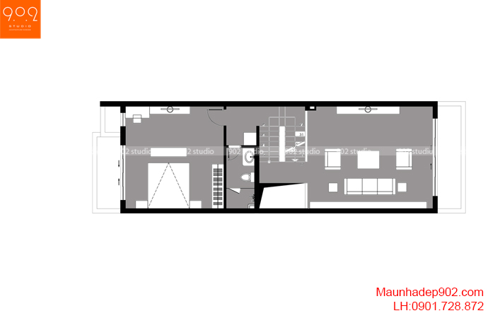Thiết kế kiến trúc nhà lô phố nhà cô Thủy (Yên Bái) - Mặt bằng tầng 2 - NP21