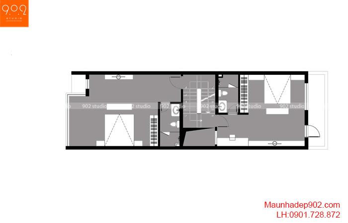 Thiết kế kiến trúc nhà lô phố nhà cô Thủy (Yên Bái) - Mặt bằng tầng 3 - NP21